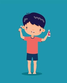 El niño está sonriendo, feliz. y están sosteniendo un cepillo de dientes y pasta de dientes en ambas manos, vector de dibujos animados.