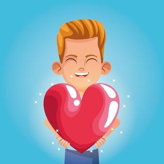 Niño sonriendo con gran corazón de dibujos animados