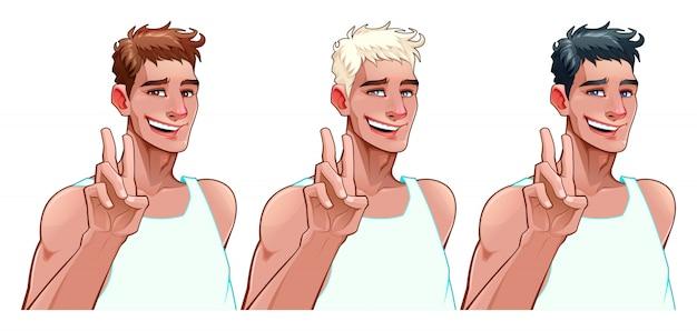Niño sonriente en tres versiones