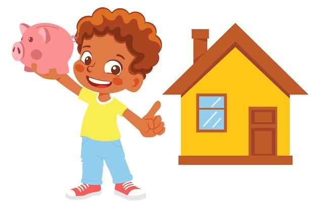 Niño sosteniendo una alcancía apunta a la casa