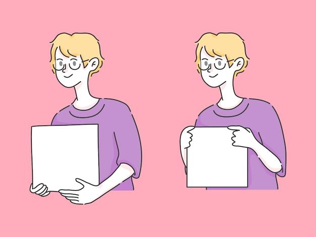 Niño sosteniendo cuadro insertar texto ilustración linda