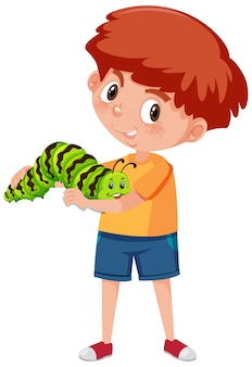 Niño sosteniendo lindo personaje de dibujos animados de animales aislado en blanco