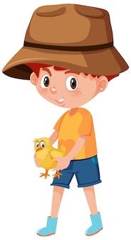 Niño sosteniendo lindo personaje de dibujos animados de animales aislado sobre fondo blanco.