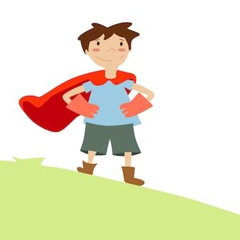 El niño sueña con ser un superhéroe.