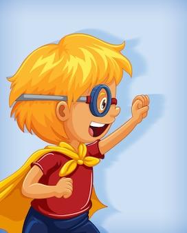 Niño con superhéroe con posición de dominio absoluto retrato de personaje de dibujos animados aislado