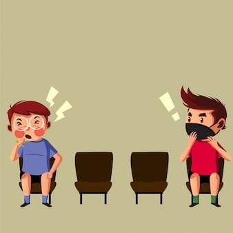 El niño tiene tos y el otro niño usa una máscara que tiene miedo mientras hace un distanciamiento físico