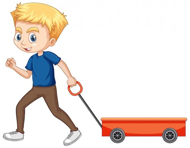 Niño tirando de vagón sobre fondo aislado