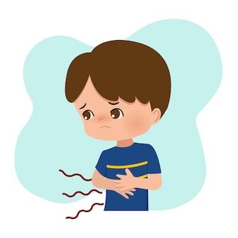 Niño tocando su estómago mientras siente hambre. dolor de estómago, dolor, dolor. diseño vectorial plana