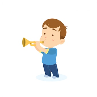 Niño tocando la trompeta