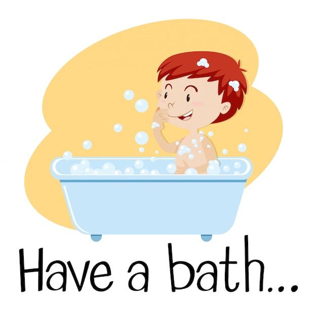 Un niño tomando un baño
