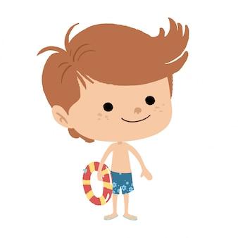 Niño con traje de baño y flotador.