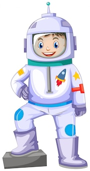 Niño en traje espacial sonriendo