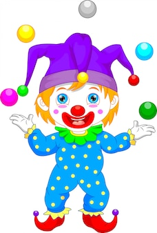 Niño en traje de payaso de dibujos animados