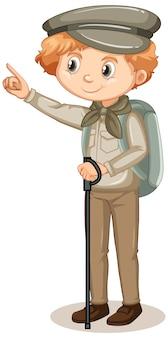 Niño en traje de safari sobre fondo blanco.