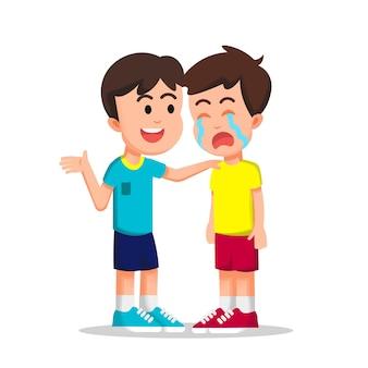 Un niño tratando de consolar a su amigo llorando.