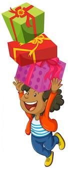 Niño con tres cajas de regalos