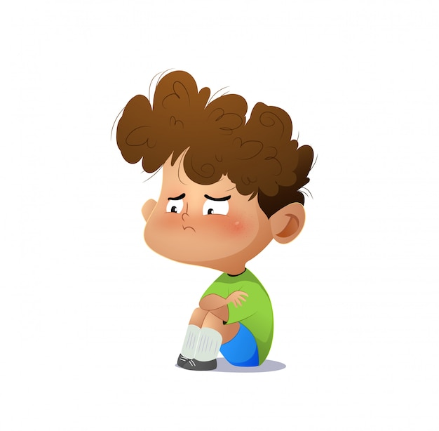 Niño triste de dibujos animados