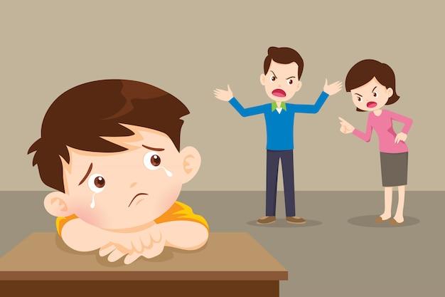 Niño triste con enojado papá y mamá discutiendo
