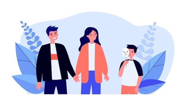 Niño triste con máscara feliz y hablando con sus padres en diseño plano