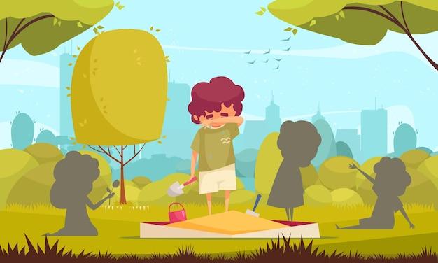 Niño triste solitario de pie en el arenero y limpiando las lágrimas de la ilustración de la cara vector gratuito
