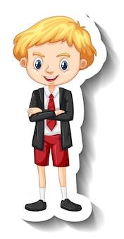 Un niño con uniforme de estudiante pegatina de personaje de dibujos animados