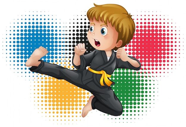 Niño en uniforme de karate negro