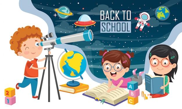 Niño usando telescopio para investigación astronómica