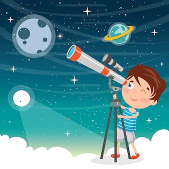 Niño usando el telescopio para investigación astronómica