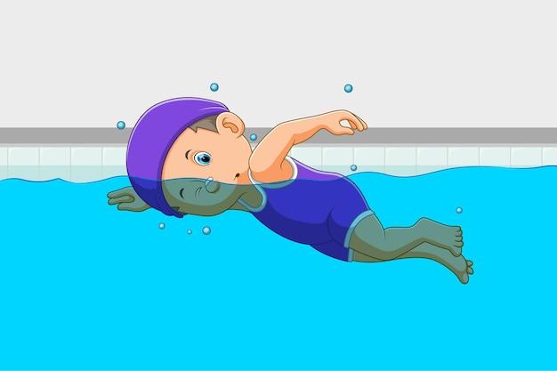 El niño está usando el traje de baño y nadando en la piscina de la ilustración.