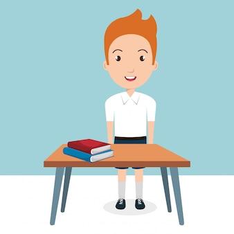 Niño con útiles escolares