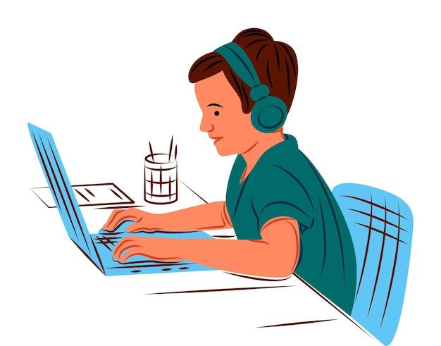 Niño de vector con laptop en sombra de estilo de líneas nítidas
