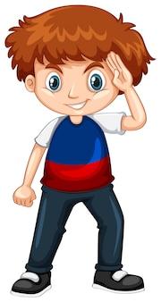 Niño vestido con camisa azul y roja.