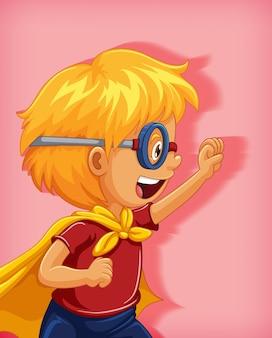 Niño vistiendo superhéroe con retrato de personaje de dibujos animados de posición de dominio aislado