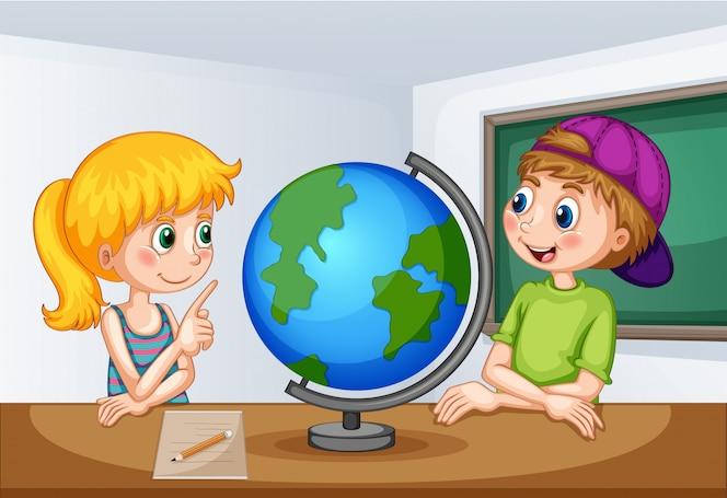 Niño y niña estudiando geografía
