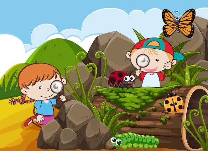 Niño y niña explorando la naturaleza