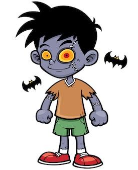 Niño zombie de dibujos animados