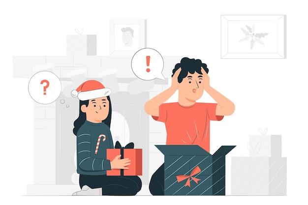 Los niños abren su ilustración de concepto de regalos de navidad