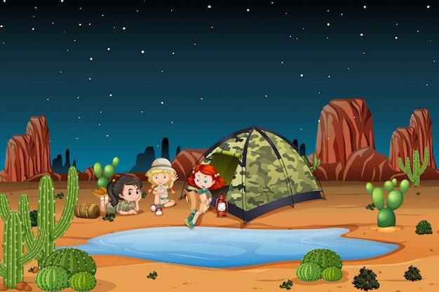 Niños acampando en la ilustración del desierto.