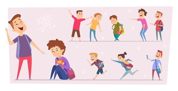 Niños acosadores burlas de alumnos estresados en la escuela