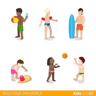 Los niños activos de vacaciones en la playa en el juego de crianza de los hijos concepto de infografía web conjunto de iconos.