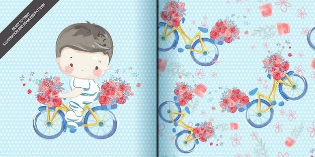 Niños acuarela en ilustración y conjunto de patrones sin fisuras.