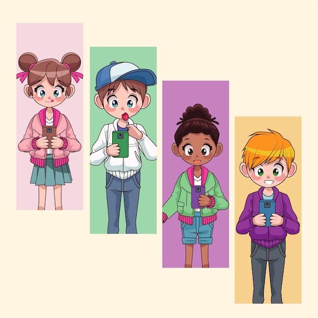 Niños adolescentes interraciales jóvenes que usan la ilustración de personajes de teléfonos inteligentes