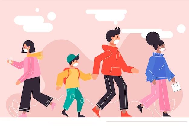 Niños y adultos con máscaras caminando al aire libre