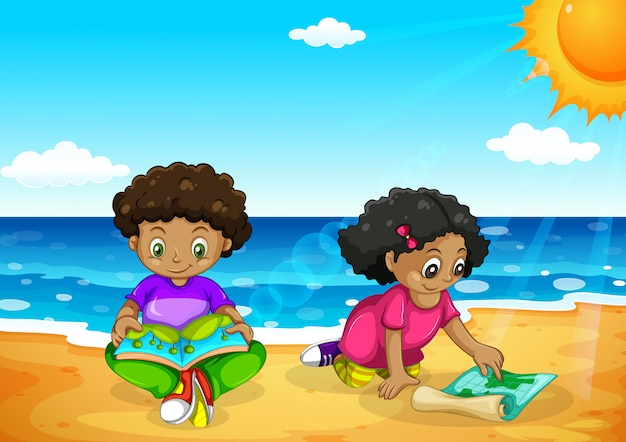 Niños africanos jóvenes en la playa