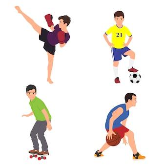 Los niños aislados en un fondo blanco practican deportes.