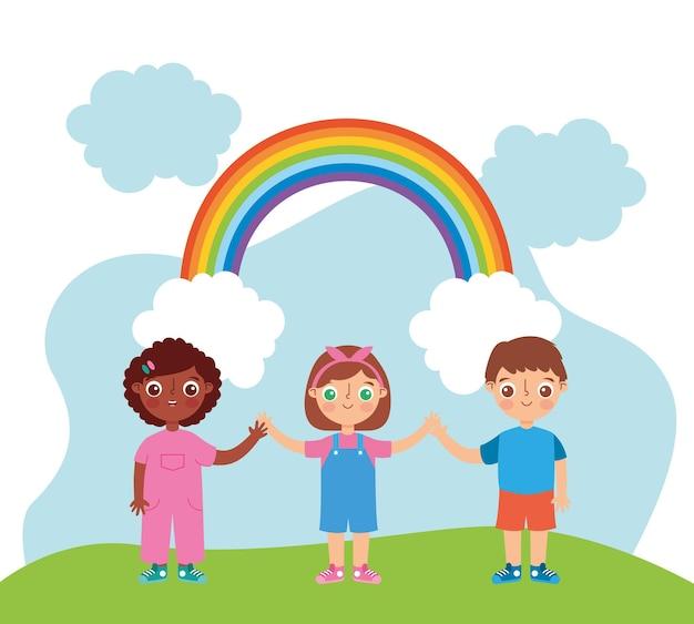 Niños al aire libre en el parque con dibujos animados de arco iris. ilustración vectorial