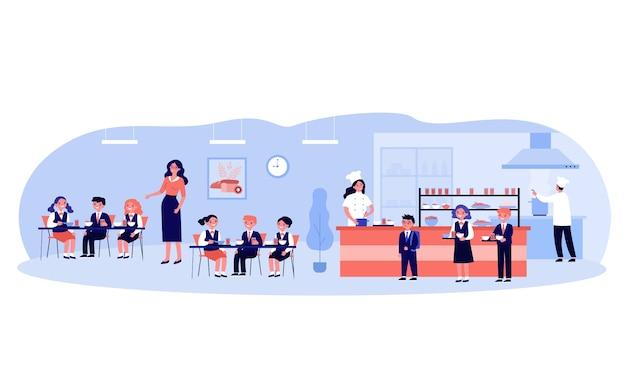 Niños almorzando en el comedor escolar. niños y niñas con uniforme comiendo en cafetería o comedor. ilustración para comida, cocina escolar, catering, concepto de servicio