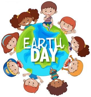 Niños alrededor de la tierra para el día de la tierra.