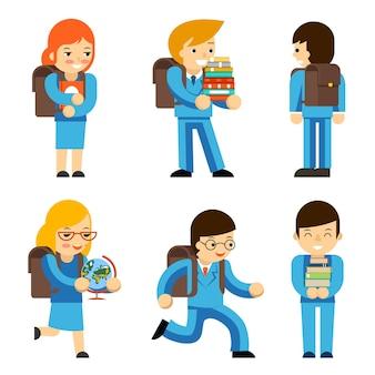 Niños alumnos con libros de texto y mochilas escolares.