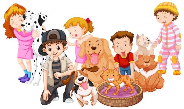 Niños con animales aislados